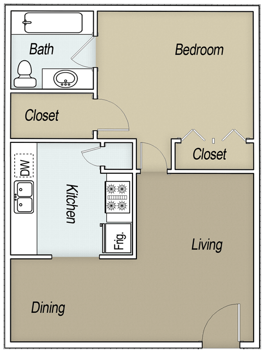 656 sq. ft. A1A floor plan