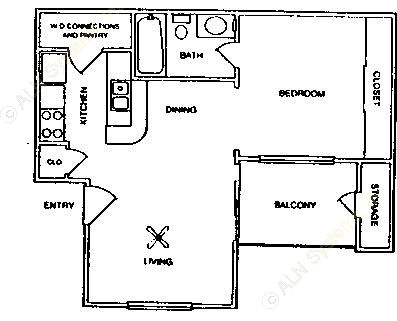 509 sq. ft. E1/60% floor plan