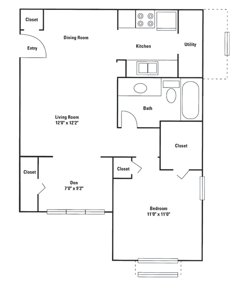 726 sq. ft. Vail floor plan