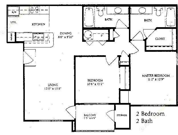 999 sq. ft. B-1 floor plan