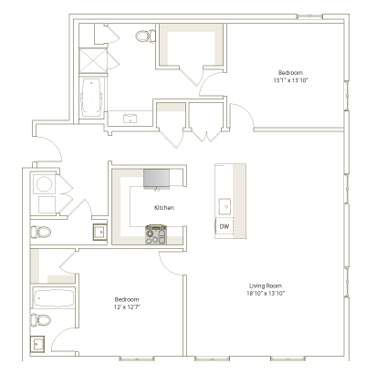1,386 sq. ft. B2-15 floor plan