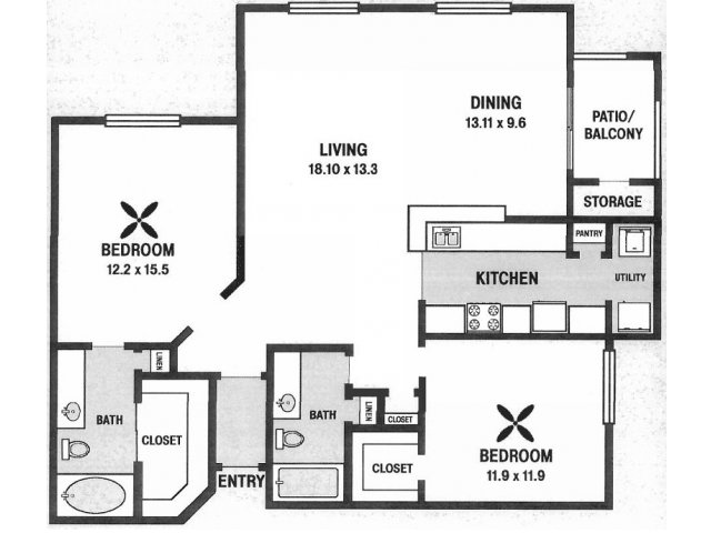 1,267 sq. ft. B6 floor plan