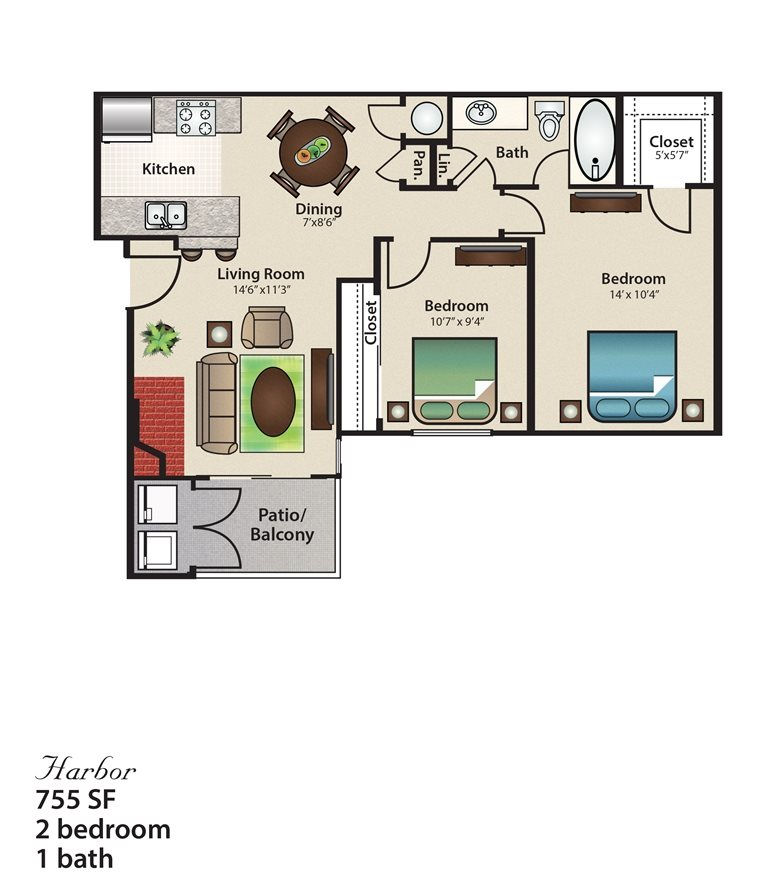 755 sq. ft. Harbor floor plan