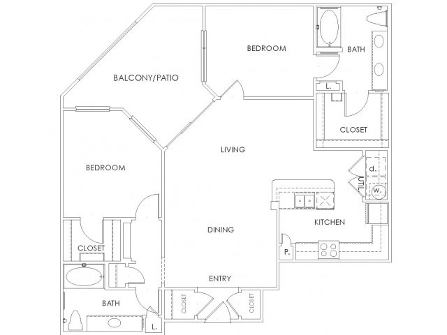 1,237 sq. ft. to 1,264 sq. ft. B3 floor plan