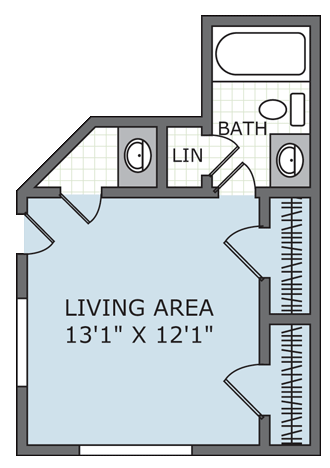 275 sq. ft. Refuge* floor plan