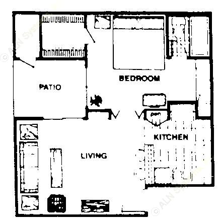 538 sq. ft. A1  JR floor plan