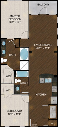 1,097 sq. ft. B4 floor plan