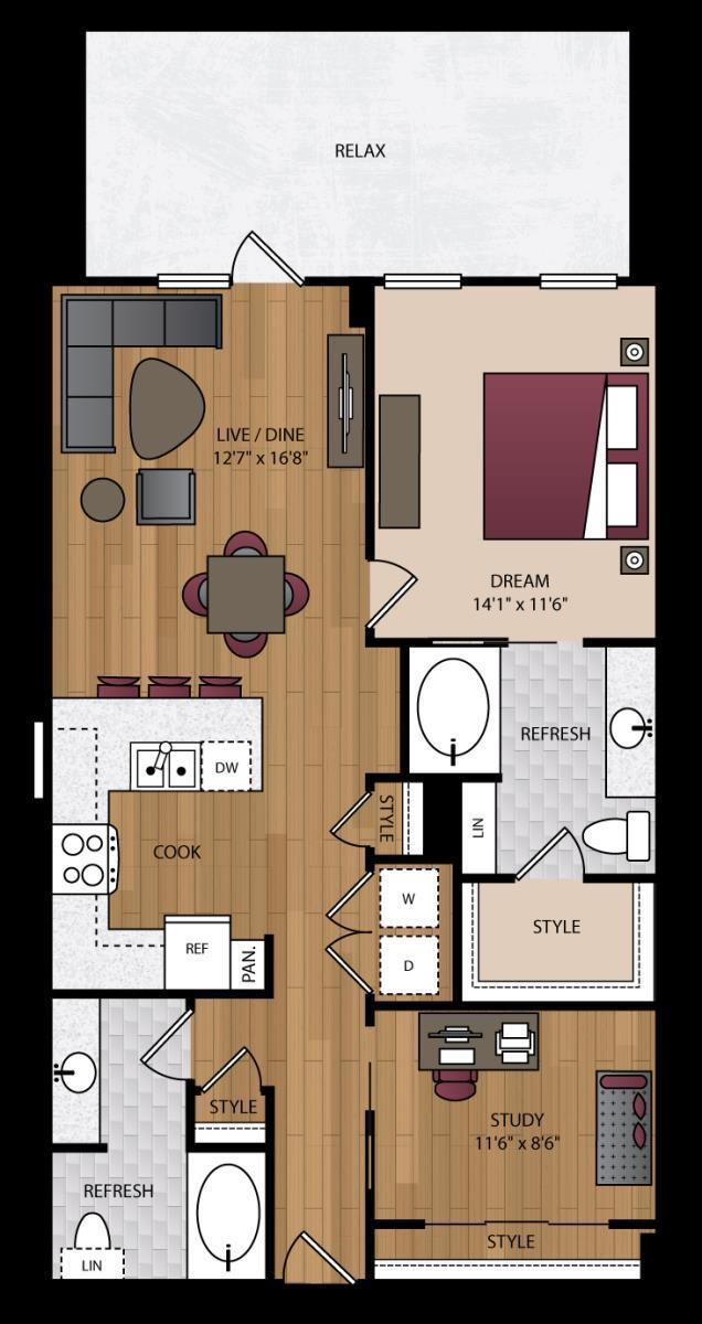 1,026 sq. ft. P-B4 floor plan