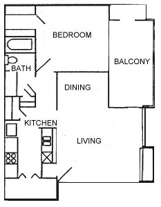 650 sq. ft. Trad floor plan