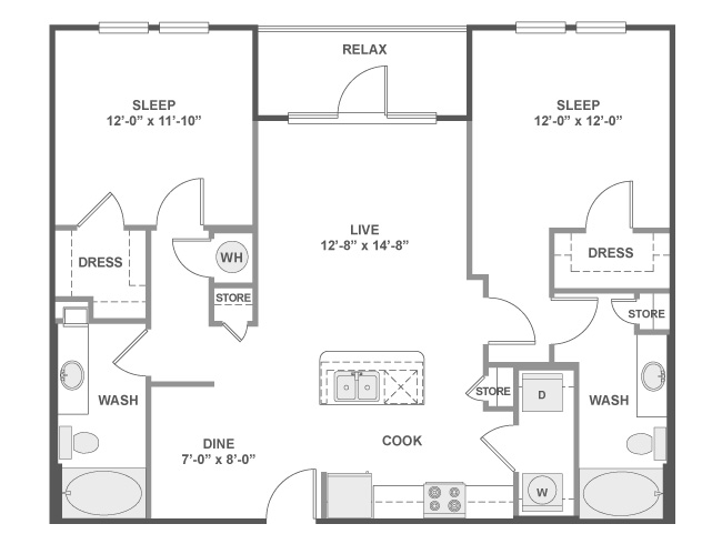 1,083 sq. ft. C4 floor plan
