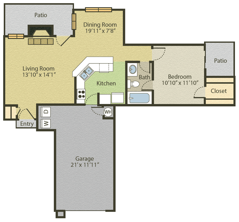 703 sq. ft. A1 floor plan