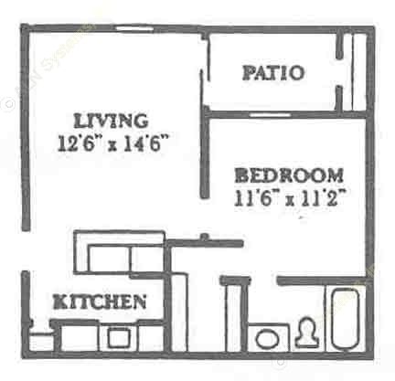 508 sq. ft. A1 floor plan