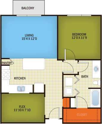 843 sq. ft. Hyde Park - A3D floor plan