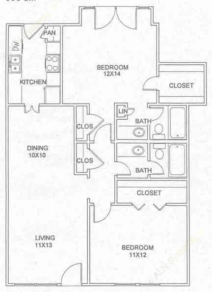 996 sq. ft. B-3-D floor plan