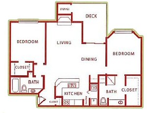990 sq. ft. B floor plan
