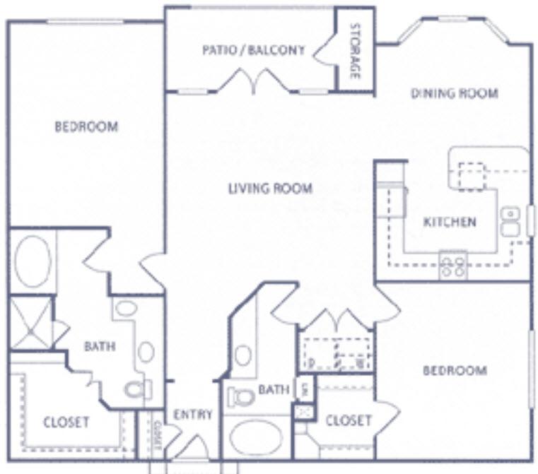 1,413 sq. ft. B2b floor plan