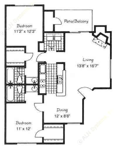 1,012 sq. ft. C4/VALENCIA floor plan