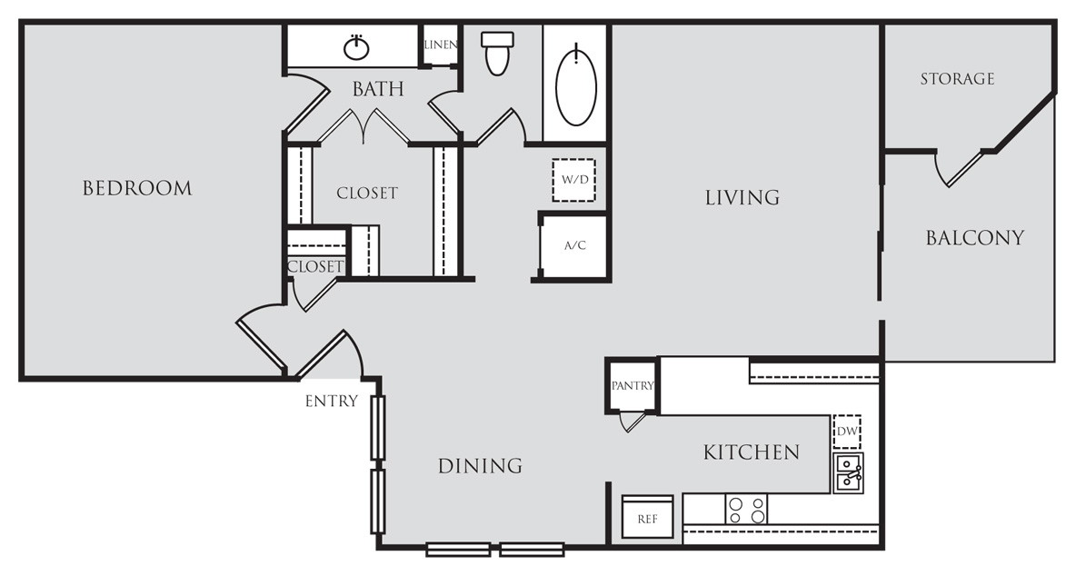 818 sq. ft. A3 floor plan