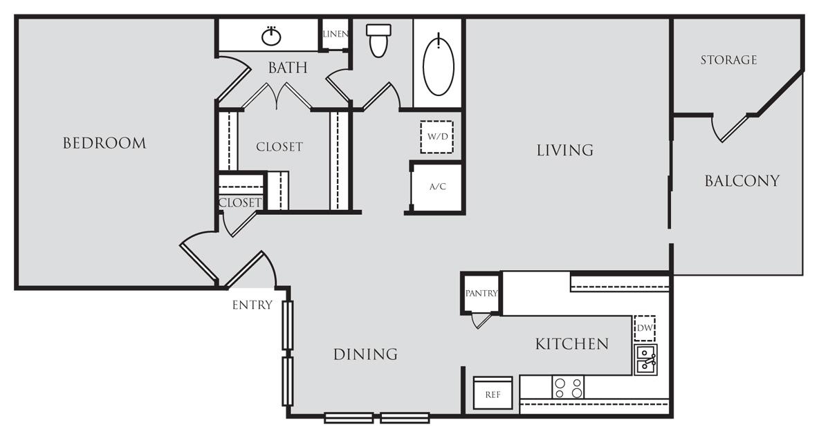 818 sq. ft. A3 floor plan