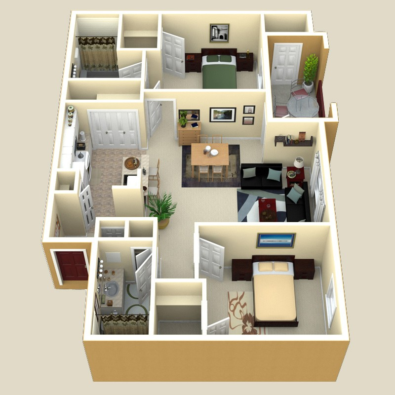 990 sq. ft. Sorrento floor plan