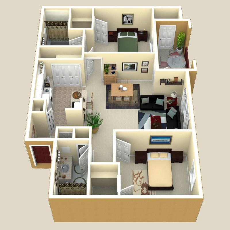 990 sq. ft. Sorrento floor plan