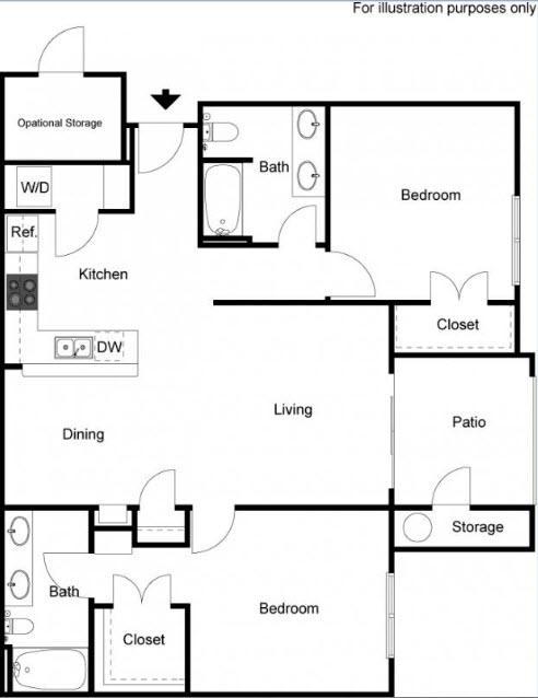 1,120 sq. ft. Pecan floor plan
