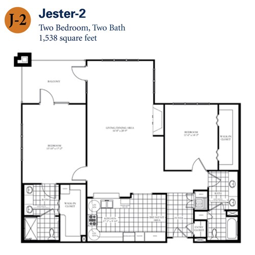 1,538 sq. ft. Jester 2 floor plan