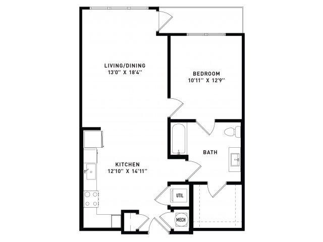 803 sq. ft. A9Alt floor plan
