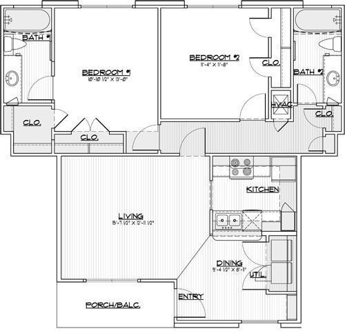 967 sq. ft. 60% floor plan