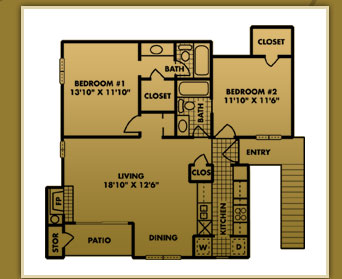 941 sq. ft. B-1 floor plan