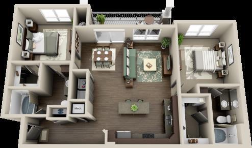 1,156 sq. ft. Rio Grande floor plan