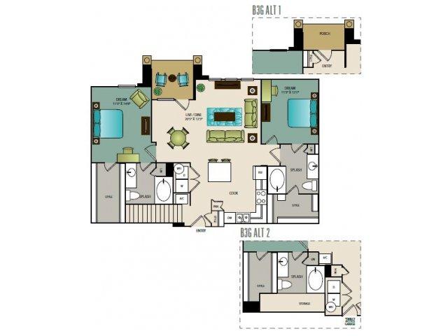 1,156 sq. ft. B3G floor plan