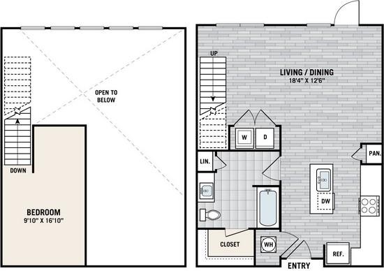 677 sq. ft. A2S floor plan