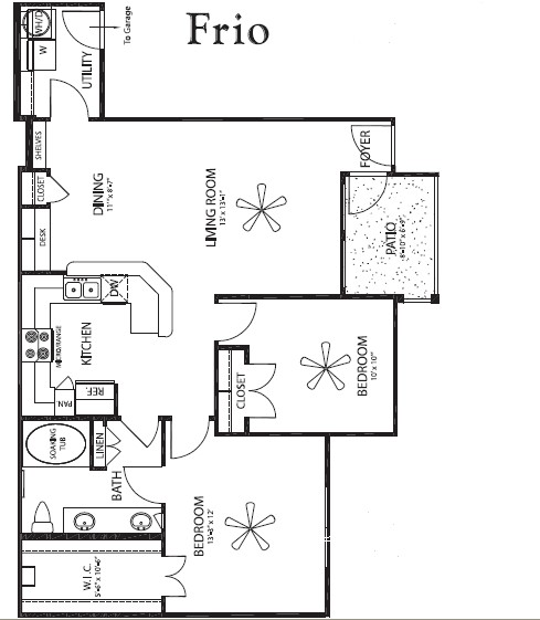 1,020 sq. ft. Frio/G floor plan
