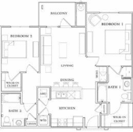 1,177 sq. ft. B2-60% floor plan