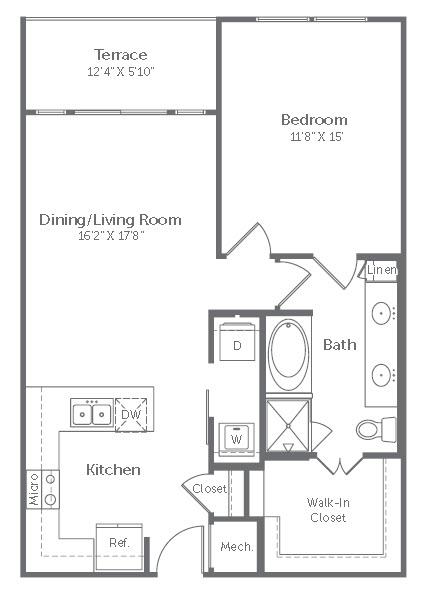 829 sq. ft. A8 floor plan