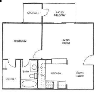 606 sq. ft. A floor plan