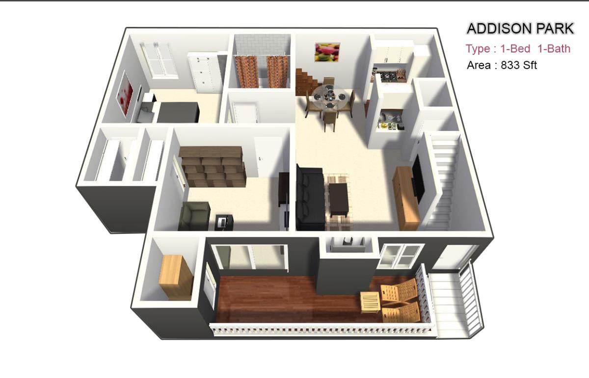 833 sq. ft. BD/BDF floor plan