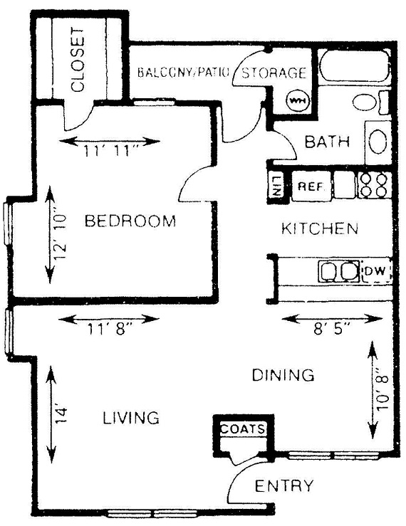 742 sq. ft. A2 floor plan