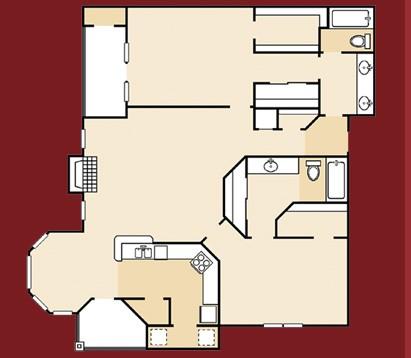 1,160 sq. ft. B3GR floor plan