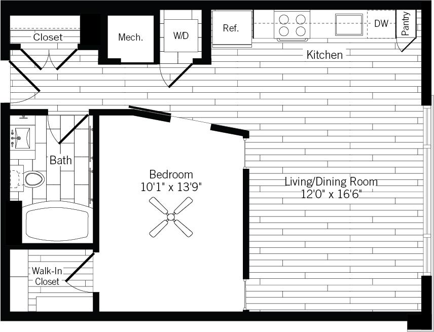 678 sq. ft. 1A-L floor plan