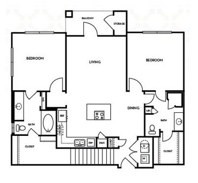 1,078 sq. ft. B1.5G floor plan