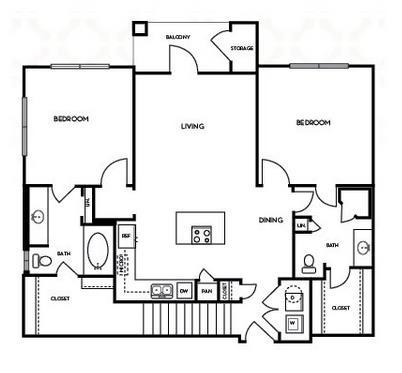 1,078 sq. ft. B1.5G floor plan