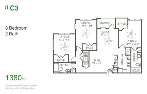1,391 sq. ft. C3 floor plan