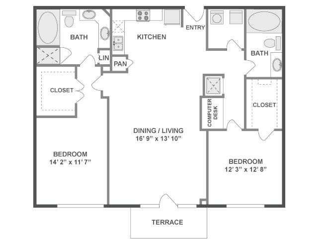 1,222 sq. ft. Bounce floor plan