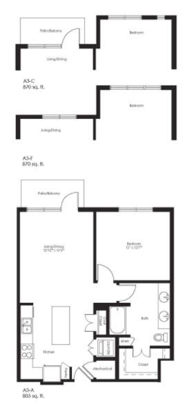 870 sq. ft. A3F floor plan