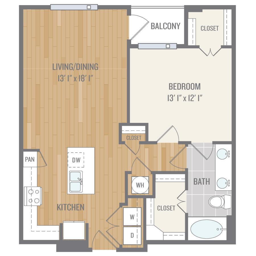 844 sq. ft. A5 floor plan