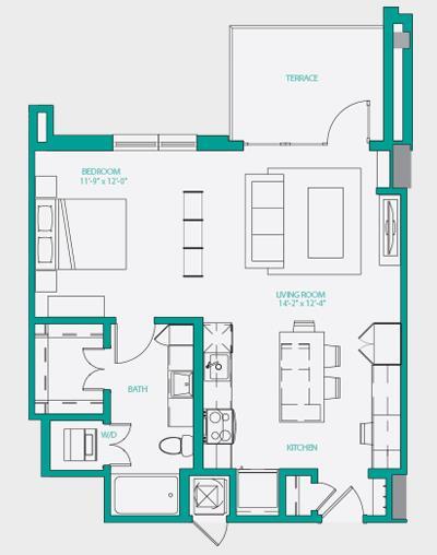 718 sq. ft. A1.1 floor plan