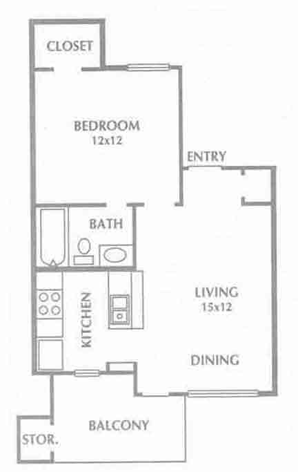 517 sq. ft. Addison floor plan