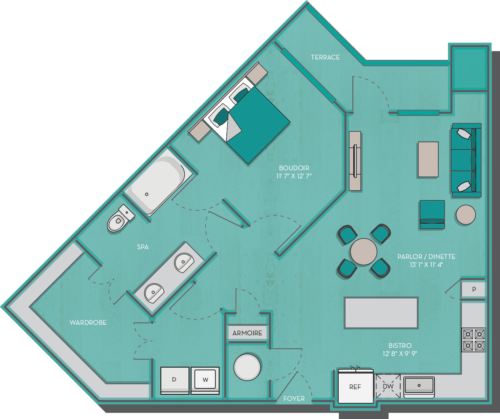 848 sq. ft. Crete floor plan